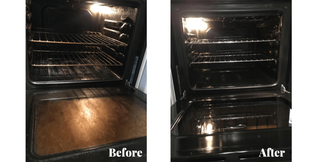 Before and after photos of ovens we've cleaned